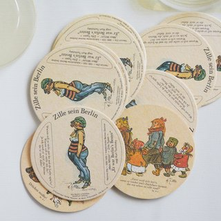 Early German vintage pattern thick paper coasters (12 in)