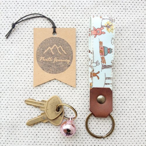 Personalized Fob Fabric Leather Key Chain,Custom Keychain,Stamped Gift For Her