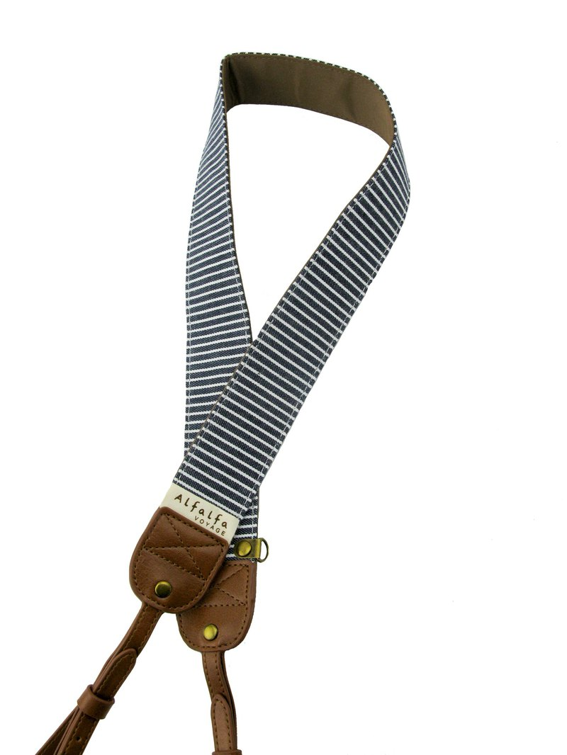 Travel camera neck strap (navigation blue and white stripes)