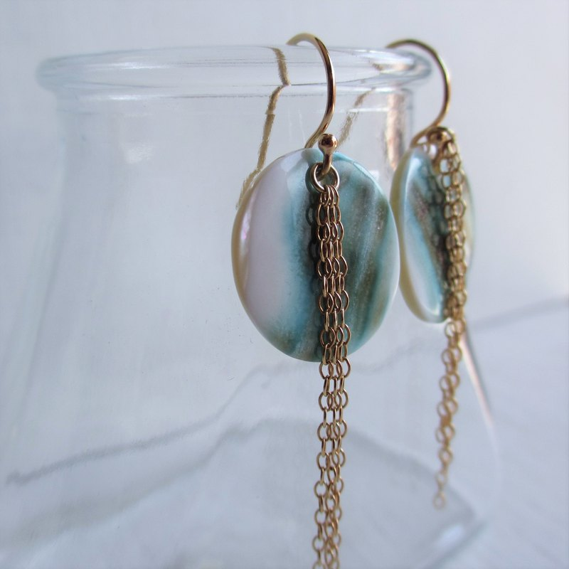 Night light shell K14GF chain earrings