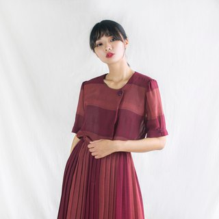 Dark red classic twill hundred fold five-point sleeves vintage dress