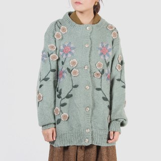 [Egg Plant Vintage] Shangshan Caihua Seiko Line Embroidered Cardigan