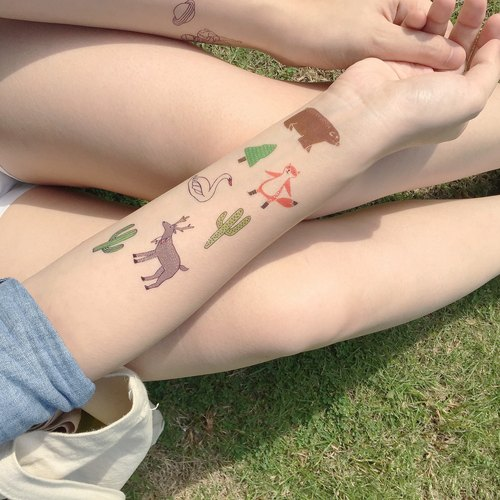 Colorful Animals Tattoo Sticker / Temporary Tattoo