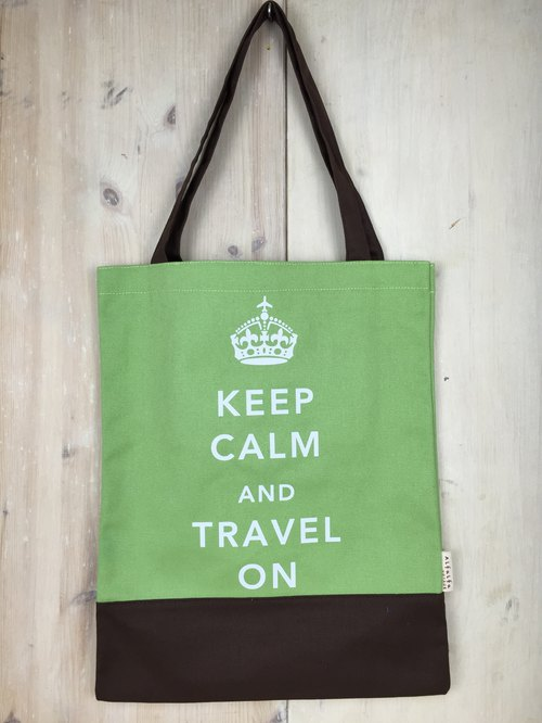 Keep Calm & Travel On Book Tote - Green - Brown