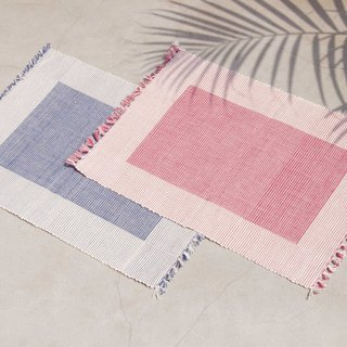 Feel woven table mat / placemat / woven placemat / Boho ethnic style meal mat - blue red sky rainbow stripes