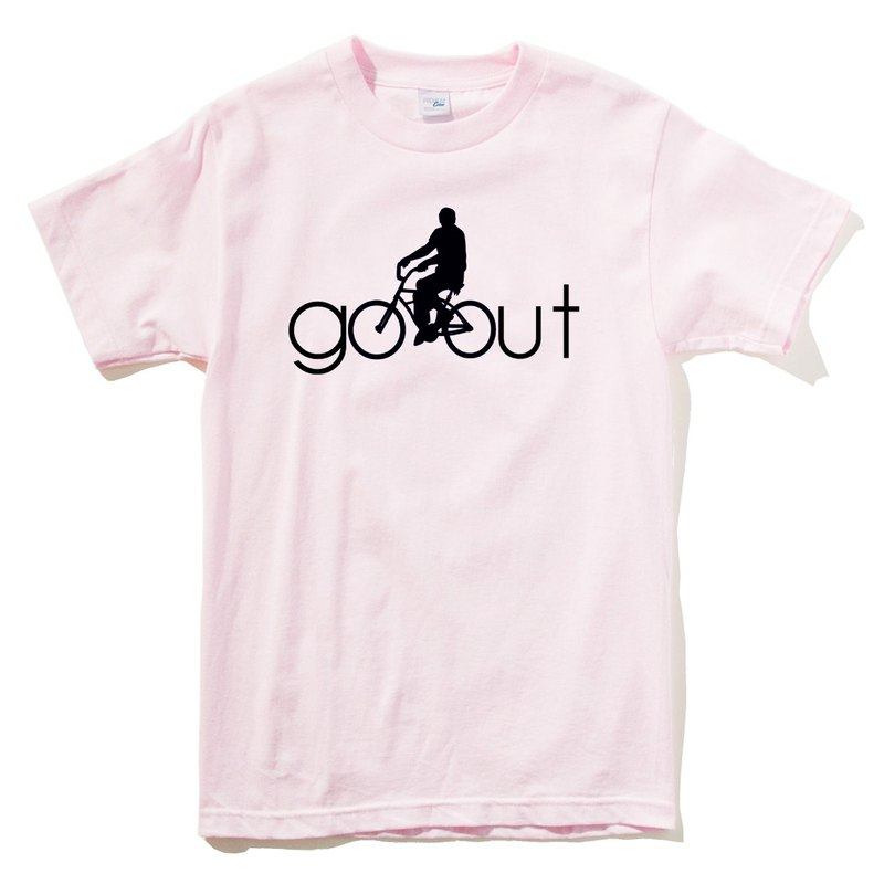 Go Out men and women short-sleeved T-shirt light pink go walking design creative Wenqing single speed bike bicycle street travel