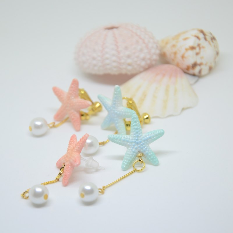 Blue starfish earrings