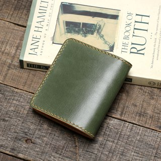 Minimal morning tree green hand dyed yak leather handmade short clip