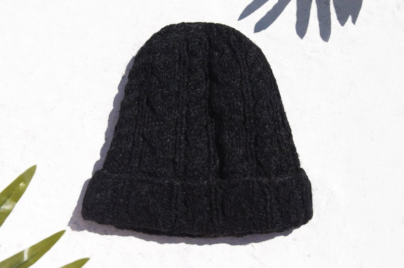 Hand-knitted pure wool cap, knitted cap, bristled woolen cap (made in nepal) - twist black