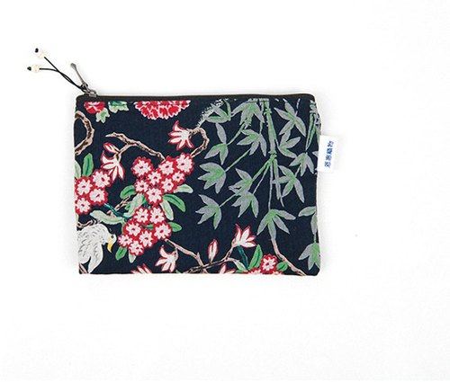 은 혜 직 물 pouch / Black Ten Longsheng cloth zipper bag L (23x18cm)