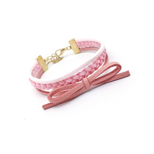 Handmade Double Braided Stylish Bracelets Rose Gold Series–pink limited