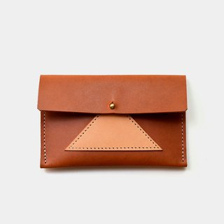 [burning meat rice group lunch box] leather business card holder leather card holder leisure card holder primary color X caramel color stitching