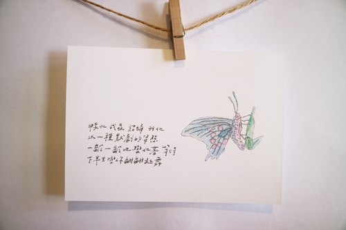 Animals with its poetry 60 / butterfly / hand painted / card postcard