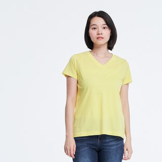 Mercerized Cotton Fabric Short Sleeves V neck T-shirt Top Yellow