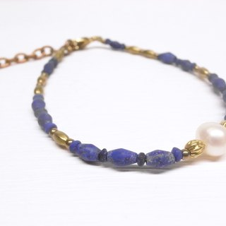 二毛银【Welful Lapis Natural Pearl Brass Bracelet】Limited
