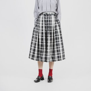 [Egg Plant Vintage] Grayscale Plaid Vintage Wide Leg Pants