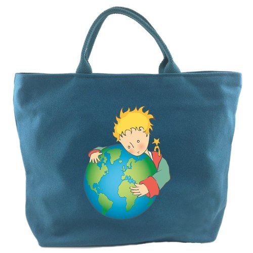 The Little Prince Classic authorization - [zipper canvas bag - blue] (large)