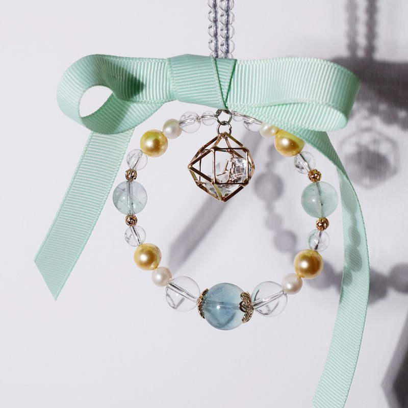 Weishi original car ornaments white crystal Jin Beizhu pearl fluorite princess cute bow gift
