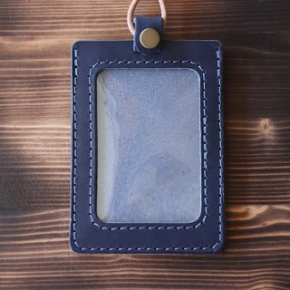 Double-layer vegetable tanned leather identification card set - with original leather neck rope / can be added lettering | blue straight