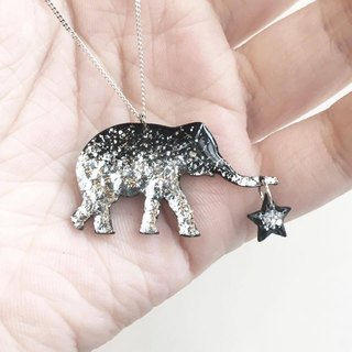 Elephant elephant like sterling silver vinyl album silver foil handmade necklace custom letters stars moon love