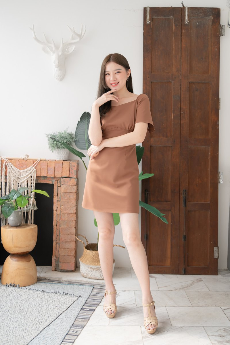 Brown Vintage Modern Dress Office Wear Summer Party Bridesmaid Dress A line