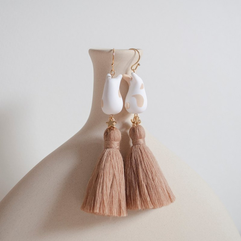 Teatime -  light brown rabbit & warm brown tassel -  earrings