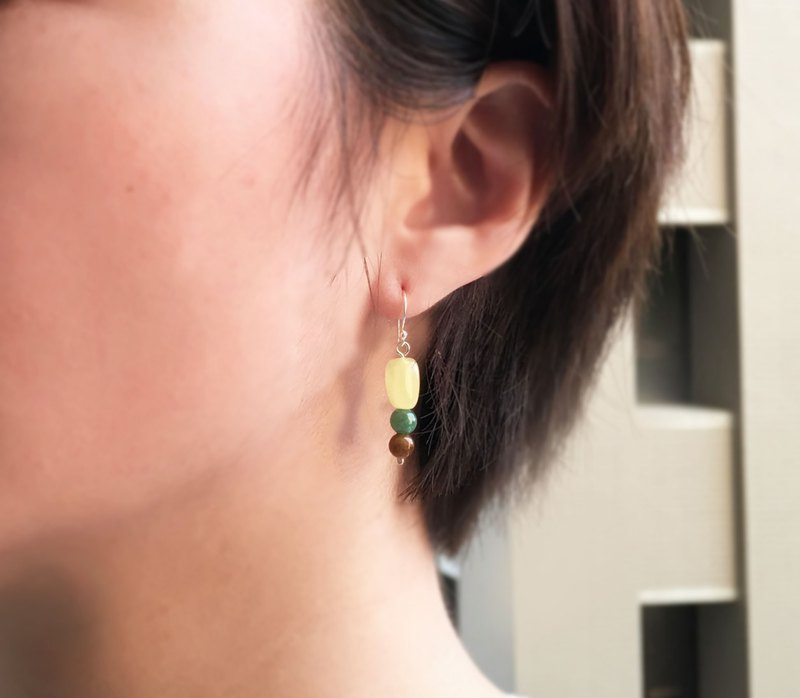 Golden Rain - (First Meng) Natural Emerald and Beeswax Sterling Silver Earrings
