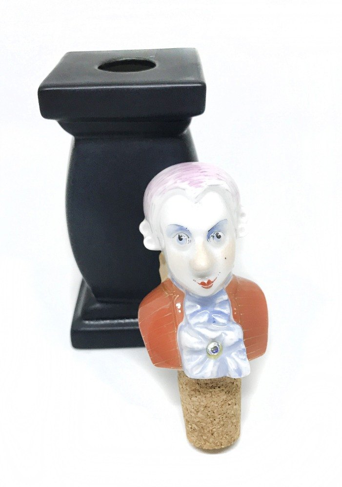 Early antiques - Mozart style hip flask cork | German home art musicians
