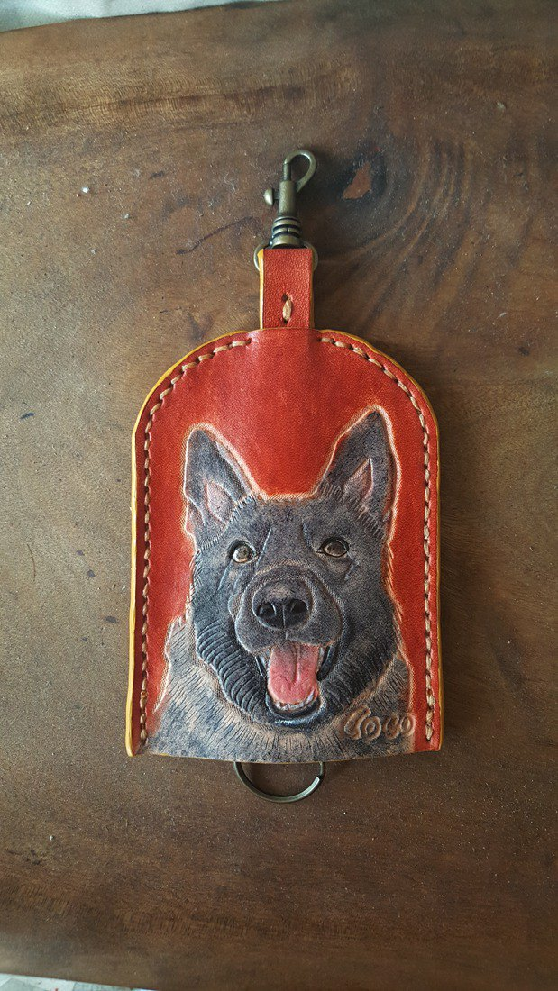 Customized pet dog pure leather key bag - can be lettering (lover, birthday gift)