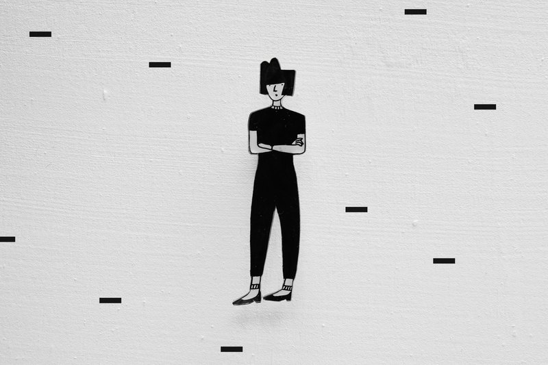 Miss Hairy Collection / Black and White Brooch / #013