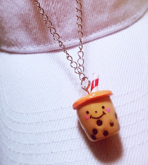 smile☺ necklace pearl milk tea (can be changed magnet / earrings / key ring) ((over 600 were sent mysterious small gift))