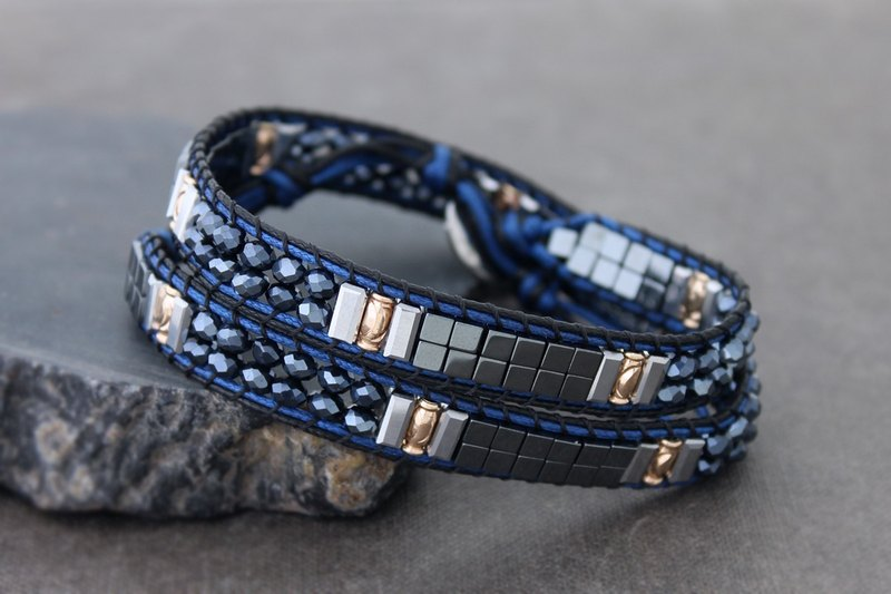 Blue Chrome Wrap Bracelets Faceted Glass Beads Crystal