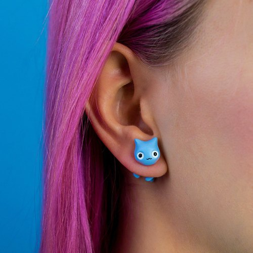 Cat Earrings - Polymer Clay Cat Earrinngs, Fake Gauge / Fake Plug