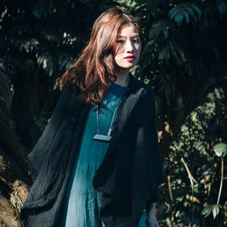 Vegetation dyed shawl jacket (black)