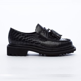 [Saint Landry] snake leather tassel loafers - Classic Black