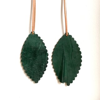 [A set of two] unique texture version - leather leather - travelers bookmarks / Charm (dark green) - Free custom English name / Sentence typewriting service