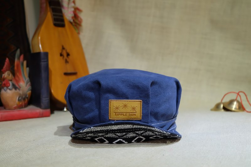 NEWS BOY Cap (Canvas Royal blue/Traditional fabric black)