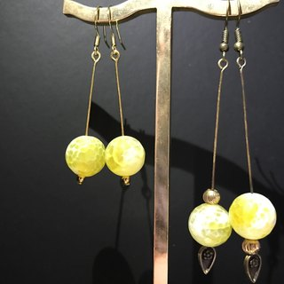 Moon Earrings Natural stone agate yellow earrings handmade fashion