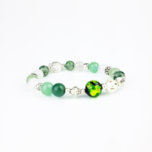 | Glass Beads Series | Laurel Leaf Prince Green Glass Beads White Chalcedony Aquatic Grass Agate Green Dongling Jade (Tibetan Silver x Bracelet x Bracelet x Handmade x Customized.)