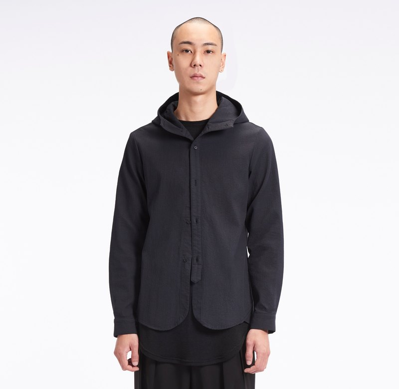 TRAN - Cotton-Linen Hooded Shirt