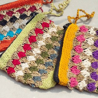 Handmade Eastern Europe wind handmade cotton crocheted coin purse / storage bag / bag / debris bag / headphone pouch - Machu Picchu triangular purse