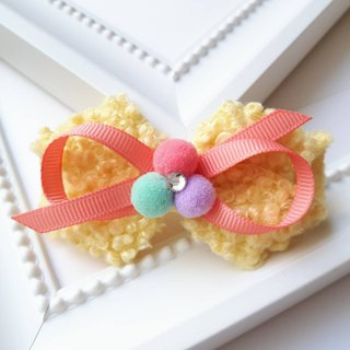 Terry ring + small round bow hairpin / yellow
