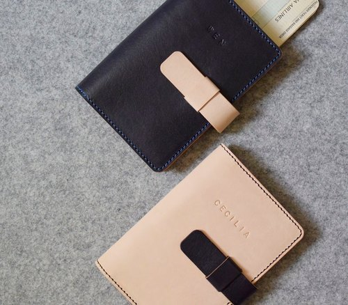 YOURS Snap-in leather passport holder Passport holder / 4 card. Two-color with