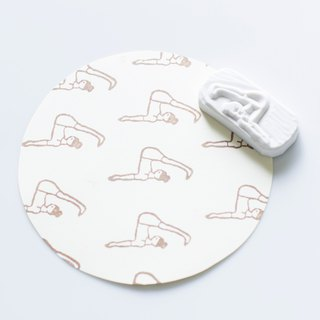 Hand engraved rubber stamp chop Yoga girl yoga stationery - 9
