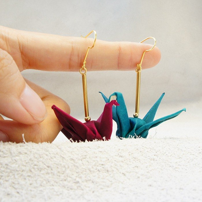 Leather Thousand Paper Crane Happiness Earrings - 8 Colors