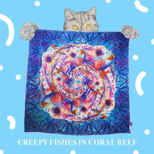 Stardust Journey Creepy Fishes Silk Scarf