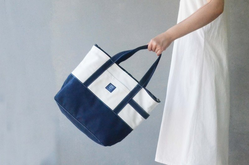 Japanese classic big tote bag _ dark blue