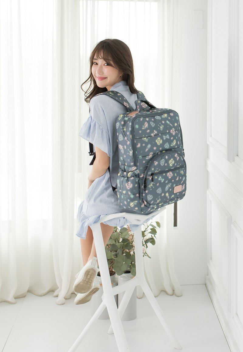 [With waterproof zipper bag / chest buckle] Soybean rot backpack - diamond ash