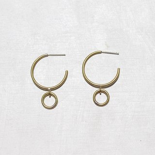 Moonlight Brass Hoop Earrings - 925 Sterling Silver Ear Pins