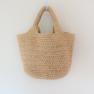 Round bottom tote bag,jute string,striped pattern